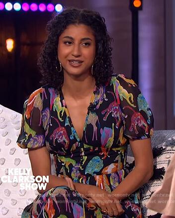 Vella Lovel's animal print midi dress on The Kelly Clarkson Show