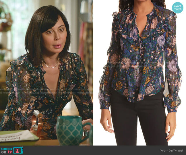 Abra Floral Print Silk Blouse by Veronica Beard worn by Cassandra Nightingale (Catherine Bell) on Good Witch