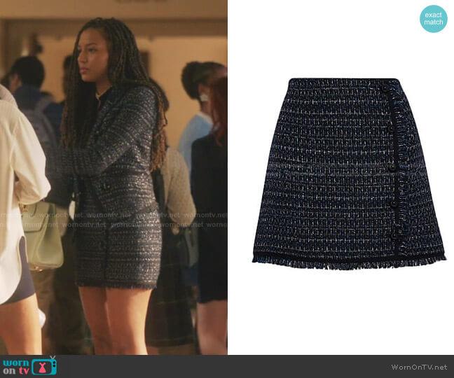Mirabelle Tweed Button-Front Skirt by Veronica Beard worn by Monet de Haan (Savannah Lee Smith) on Gossip Girl