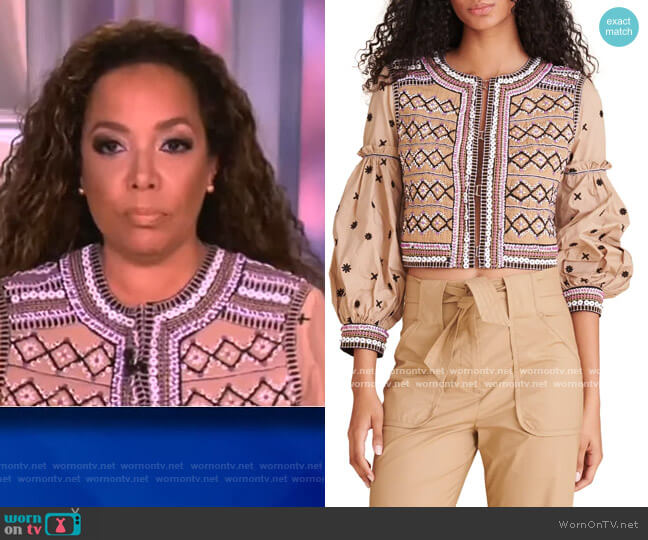 Rocci Beaded Embroidered Cotton Jacket by Veronica Beard worn by Sunny Hostin  on The View