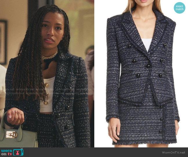 Cooke Tweed Dickey Jacket by Veronica Beard worn by Monet de Haan (Savannah Lee Smith) on Gossip Girl