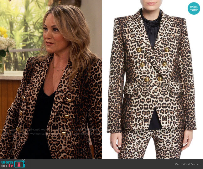 Veronica Beard Miller Leopard Print Jacket worn by Argentina (Christine Taylor) on iCarly
