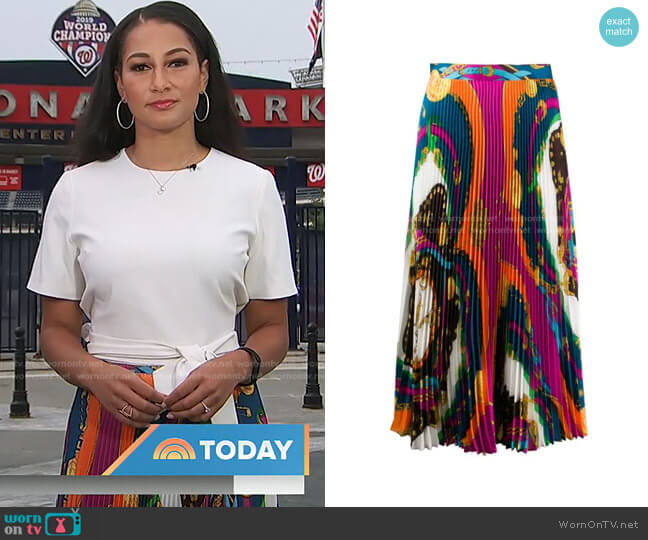 Barocco Rodeo Print Pleated Midi Skirt by Versace worn by Morgan Radford on Today