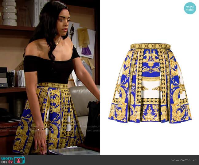 Versace Signature Printed Skirt worn by Zoe (Kiara Barnes) on The Bold & the Beautiful