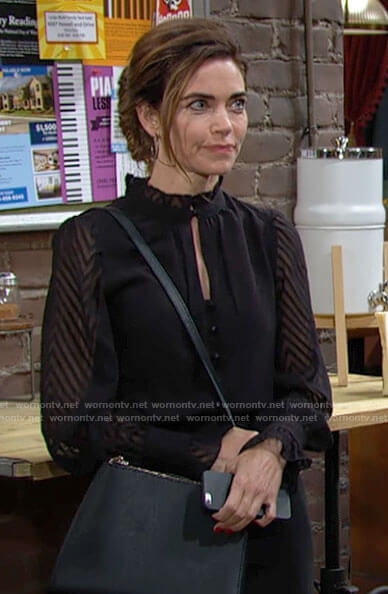 Victoria's black chevron striped blouse on The Young and the Restless