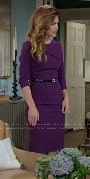 Victoria's purple sheath dress on The Young and the Restless