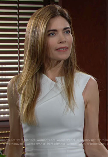 Victoria's white dress with folded neckline on The Young and the Restless