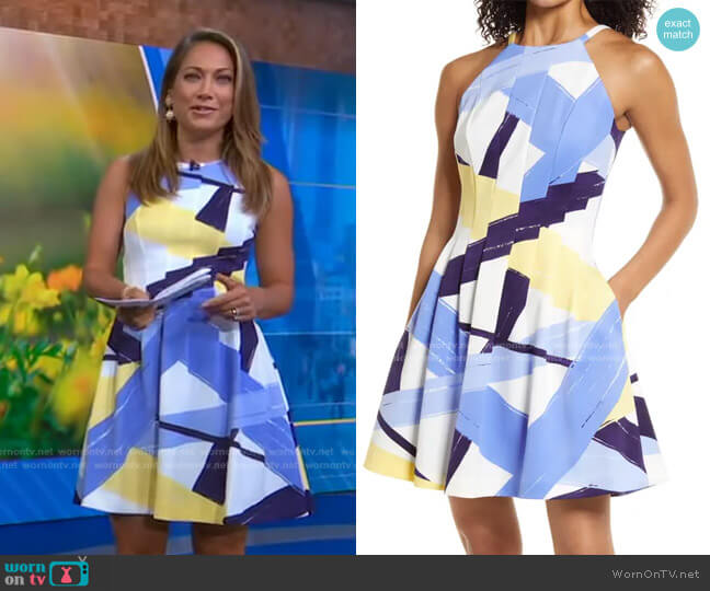 Abstract Print Halter Neck Fit & Flare Dress by Vince Camuto worn by Ginger Zee  on Good Morning America