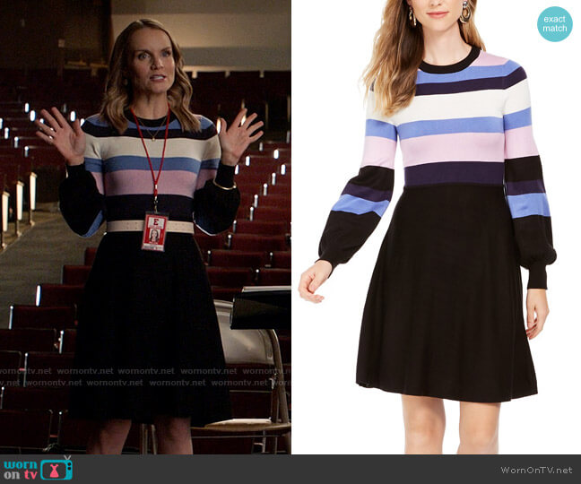 Vince Camuto Colorblocked Sweater Dress worn by Miss Jenn (Kate Reinders) on High School Musical The Musical The Series