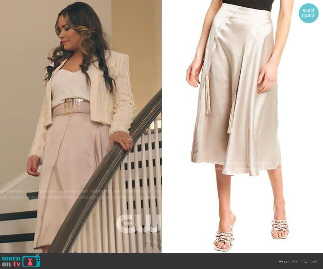 Satin Tassel Skirt by Vince worn by Cristal Jennings (Daniella Alonso) on Dynasty