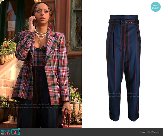 Vivienne Westwood Striped High Waisted Trousers worn by Whitney Green (Amber Stevens West) on Run the World