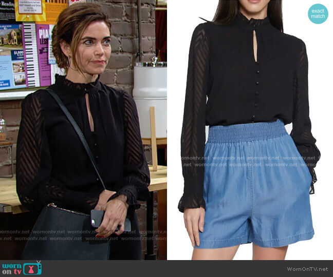 Walter Baker Justice Chevron Ruffle Long Sleeve Top worn by Victoria Newman (Amelia Heinle) on The Young & the Restless