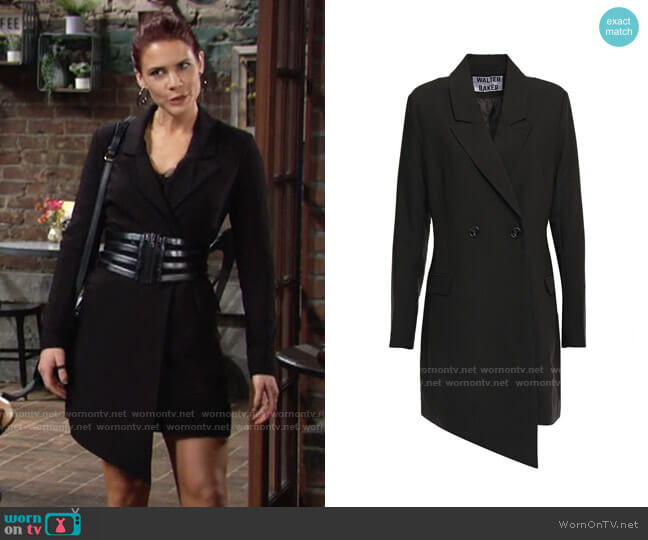 Walter Baker Rona asymmetric twill mini dress worn by Sally Spectra (Courtney Hope) on The Young & the Restless