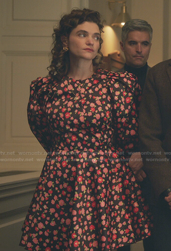 Wendy's black and pink floral puff sleeve dress on Gossip Girl