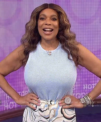 Wendy's blue mesh bodysuit on The Wendy Williams Show
