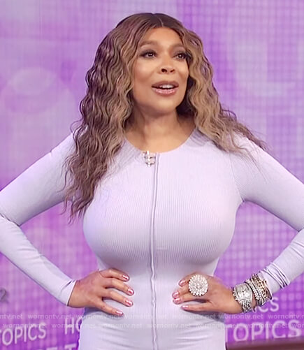 Wendy's lavender long sleeve bodycon dress on The Wendy Williams Show