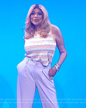 Wendy's stripe tank and lavender pants on The Wendy Williams Show