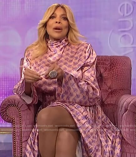 Wendy's pink satin printed maxi dress on The Wendy Williams Show