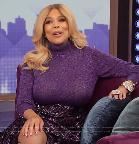 Wendy's purple metallic turtleneck bodysuit and skirt on The Wendy Williams Show