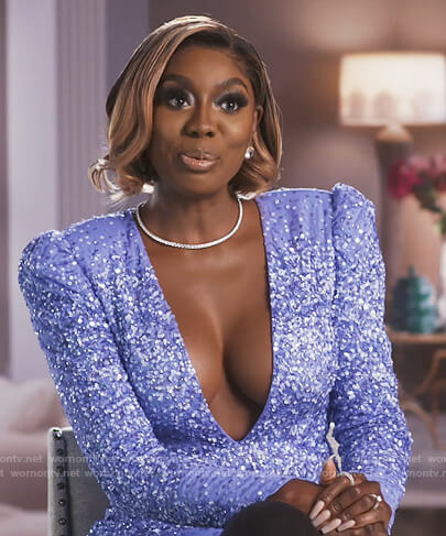 Wendy's purple sequin plunging mini dress on The Real Housewives of Potomac