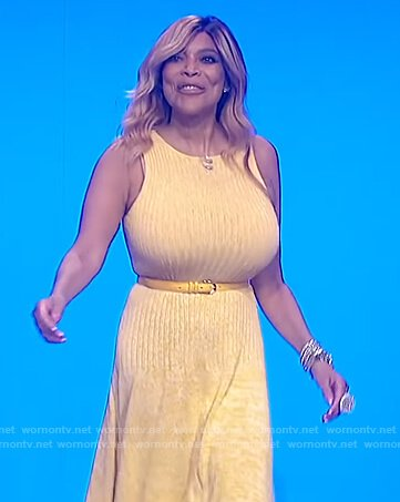 Wendy's yellow ribbed sleeveless dress on The Wendy Williams Show