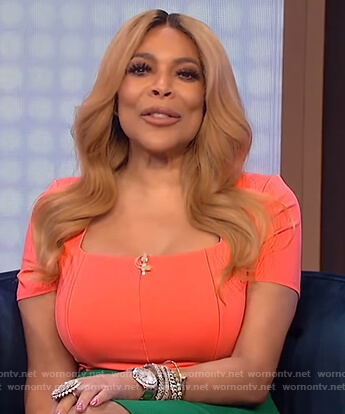 Wendy's coral square neck top on The Wendy Williams Show