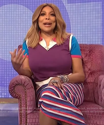 Wendy's purple colorblock polo on The Wendy Williams Show