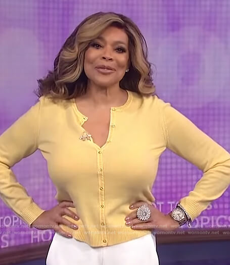 Wendy's yellow cardigan on The Wendy Williams Show
