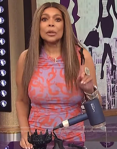 Wendy's purple printed ruched dress on The Wendy Williams Show