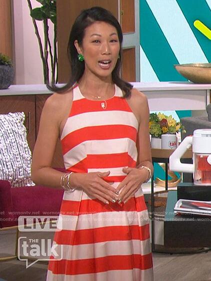 Chi-Lan Lieu's sleeveless stripe dress on The Talk