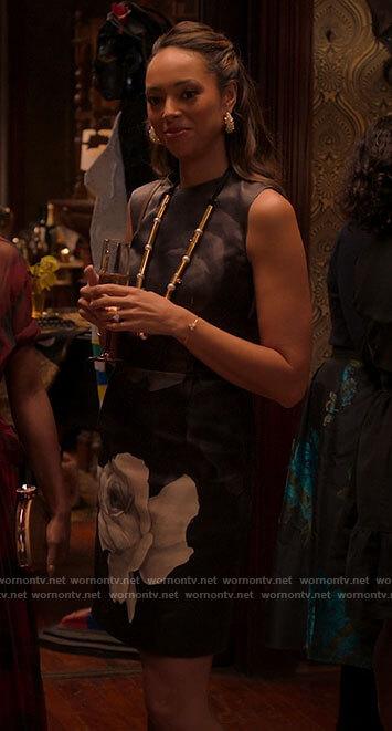 Whitney's black and white rose dress on Run the World