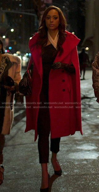 Whitney's red cape sleeve coat on Run the World