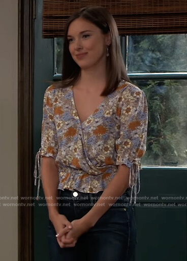 Willow's blue floral print wrap blouse on General Hospital