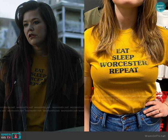 Worcester Wares Eat Sleep Worcester Repeat T-shirt worn by Patty (Mary Hollis Inboden) on Kevin Can F**k Himself
