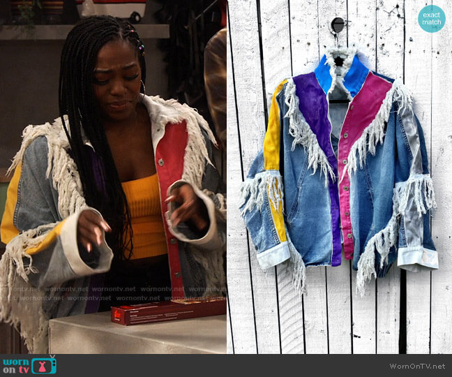 Wren + Glory Painted Patchwork Denim Jacket worn by Harper (Laci Mosley) on iCarly