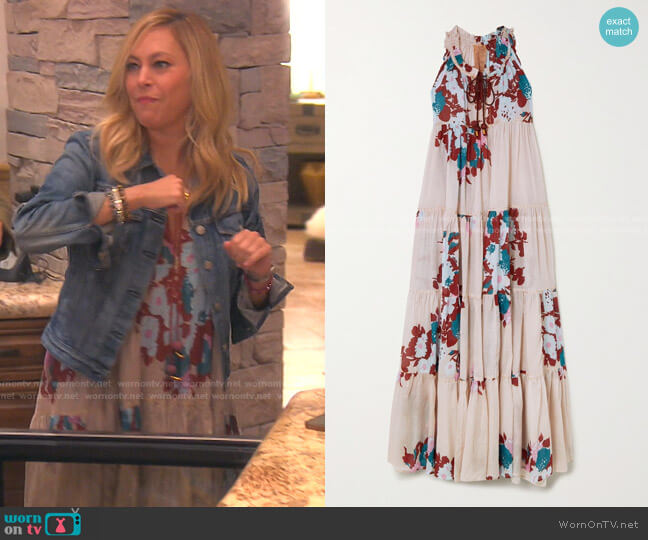 Hippy Tiered Floral-Print Cotton-Voile Maxi Dress by Yvonne S worn by Sutton Stracke  on The Real Housewives of Beverly Hills