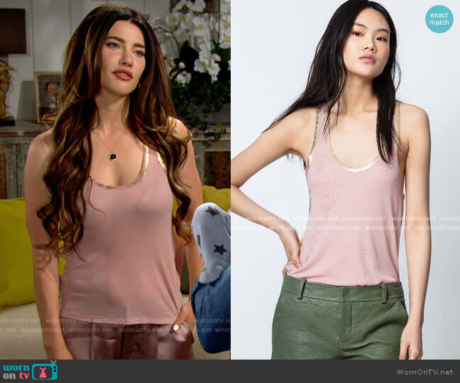 Zadig & Voltaire Ander Tank Top worn by Steffy Forrester (Jacqueline MacInnes Wood) on The Bold & the Beautiful