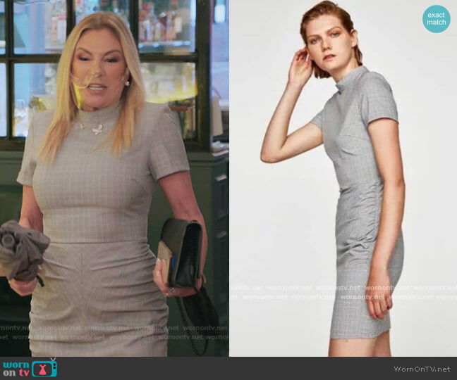 Checked Dress with Draped front by Zara worn by Ramona Singer  on The Real Housewives of New York City