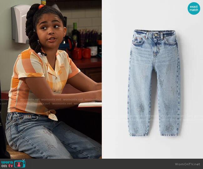 Zara Girls Sparkly Mom Jeans worn by Millicent (Jaidyn Triplett) on iCarly