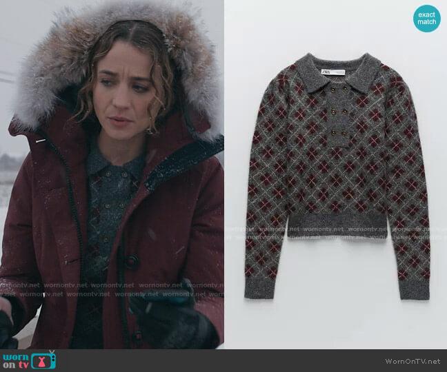 Zara Argyle Knit Sweater worn by Sarah Cooper (Stella Baker) on The Republic of Sarah