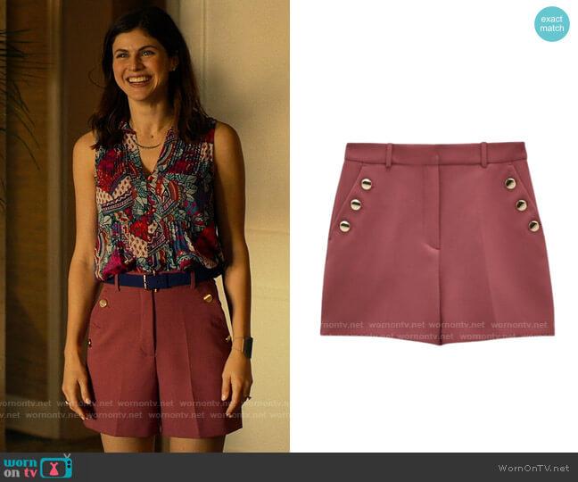 Zara Bermuda Shorts with Buttons worn by Rachel Patton (Alexandra Daddario) on The White Lotus