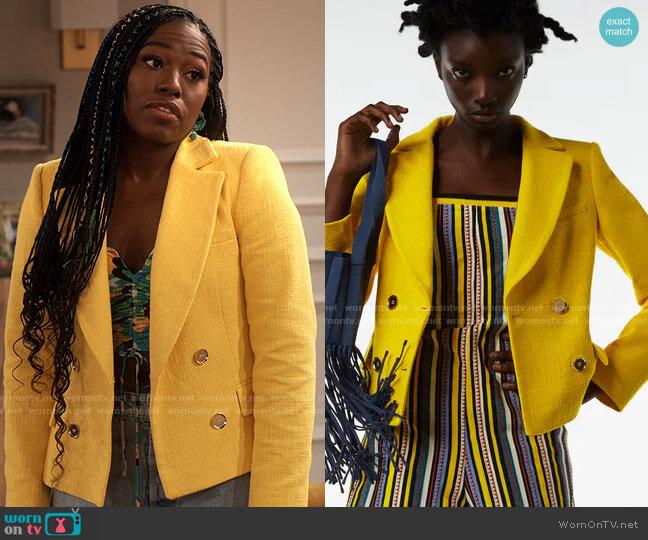 Zara Cropped Textured Blazer worn by Harper (Laci Mosley) on iCarly