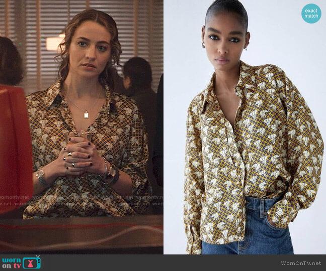 Zara Silky Print Button Down Shirt worn by Sarah Cooper (Stella Baker) on The Republic of Sarah