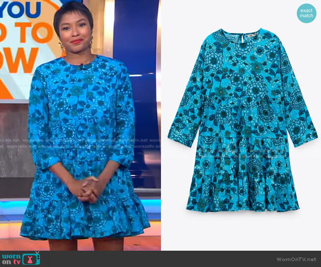 Floral Print Dress by Zara worn by Alicia L Quarles on GMA