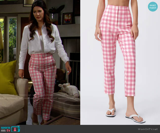 Zara High Waisted Gingham Pants worn by Steffy Forrester (Jacqueline MacInnes Wood) on The Bold & the Beautiful