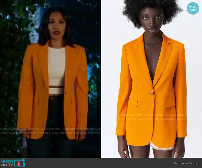 Zara Tailored Blazer with Pockets worn by Iris West (Candice Patton) on The Flash