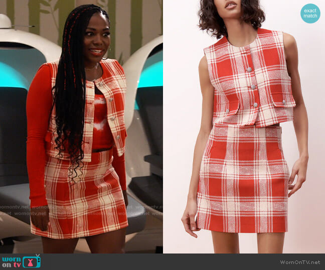 Zara Textured Weave Vest with Buttons and Skirt worn by Harper (Laci Mosley) on iCarly