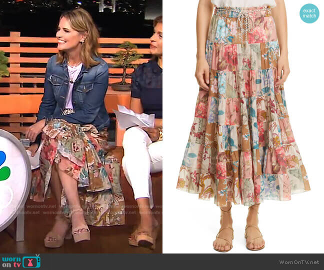 Cassia Patch Midi Skirt by Zimmermann worn by Savannah Guthrie  on Today