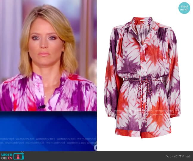 Shelly Tie Dye Chiffon Playsuit by Zimmermann worn by Sara Haines  on The View
