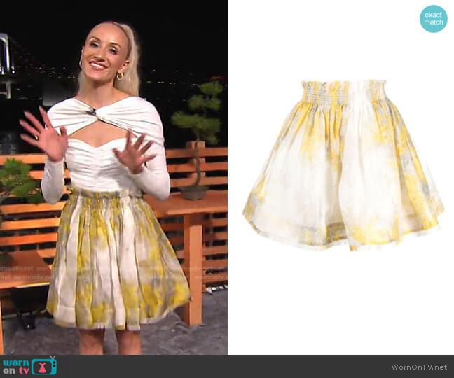 Botanica Wattle Flip Skirt by Zimmermann worn by Nastia Liukin on Today